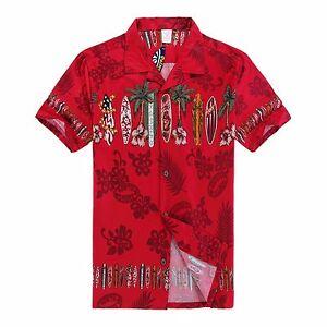 Men-Aloha-Shirt-Cruise-Tropical-Luau-Beach-Hawaiian-Party-Red-Surf-Boards-Palm