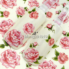 water transfer nail sticker decals decoration tool pink rose flower design M105