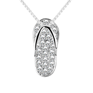 Genuine 925 sterling silver slipper flip flop pendant necklace with image is loading genuine 925 sterling silver slipper flip flop pendant aloadofball Images