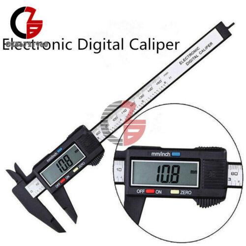 Digital 150mm LCD Electronic Carbon Fiber Vernier Caliper 5V Micro USB EU Plug