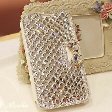 Bling Diamond Rhinestone Bow Wallet Leather Stand Case Cover For Samsung Phones