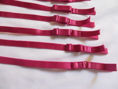 Three  Pair Shiny PINK Adjustable  Elastic Lingerie Bra Straps 6 pieces