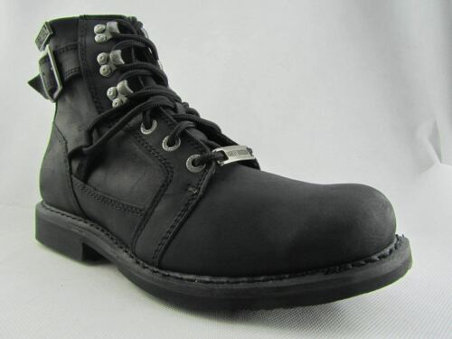 Harrison Hooked Lace Biker Black uomo's Harley Buckle Davidson Up Leather Boots fw0q5F7Ux
