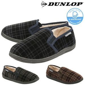 Dunlop-Mens-Slippers-Slip-On-Twin-Gusset-Comfy-Fur-Lined-Memory-Foam-Sizes-7-12