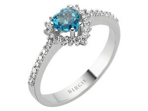 Ring mit herzförmigen Blautopas und Diamanten 585er/14K Weißgold Echtschmuck