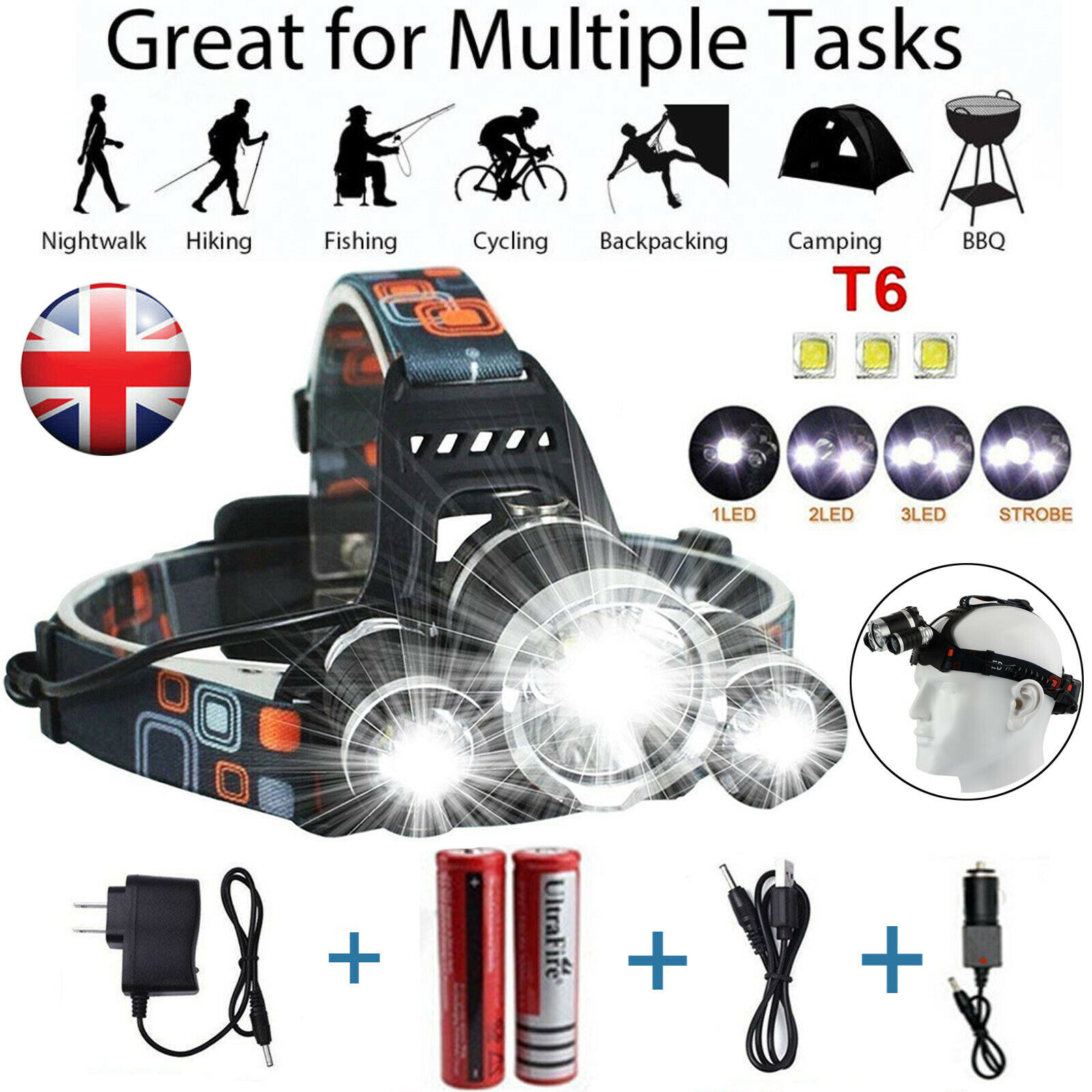 12000 LM Lumens 3X XML CREE T6 LED Rechargeable Head Torches Headlamp Lamp Light