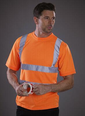 HVJ410 Yoko Hi-Vis Short Sleeve T-Shirt Soft Feel Mens Work Tee Yellow Orange