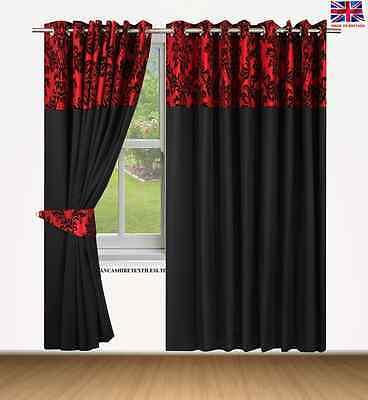 Creativo Top Anello Interamente Foderato Coppia Occhielli Ready Made Tende Barocco Damascato Rosso Nero-