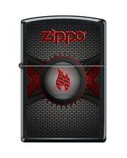 Zippo 3728, Red Flame Logo-Brick Wall, Black Matte Finish Lighter, Full Size