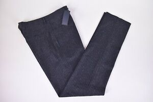 Zanella-NWT-Flat-Front-Dress-Pants-Size-38-in-Navy-w-Brown-Pinstripe-Five-Pocket