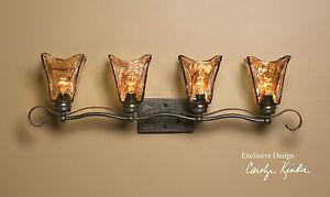 European Bathroom Vanity Lights : BRONZE HAND MADE GLASS AND EUROPEAN IRON 4 LIGHT WALL LIGHT VANITY STRIP eBay