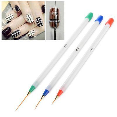 3pcs Nail Art Design DIY Acrylic Drawing Painting Striping UV Gel Pen Brush Set