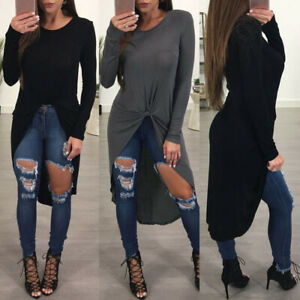 Women-Long-Sleeve-Knotted-Club-Tops-Summer-Loose-Baggy-Blouse-Shirt-Dress-Kaftan