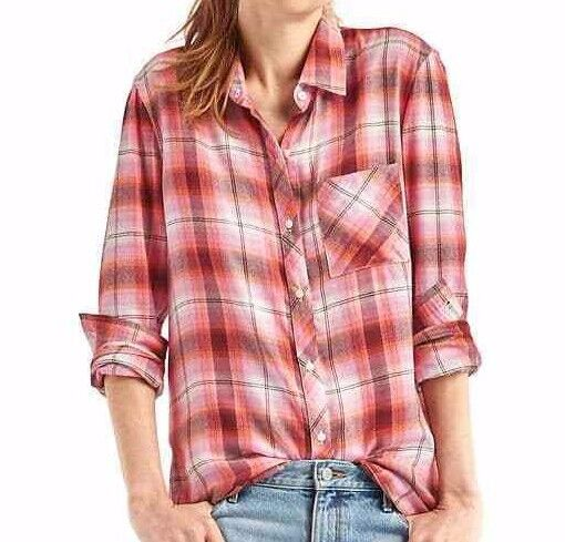 NWT Gap Soft Plaid Boyfriend Shirt, Peach Ombré SIZE ST S T