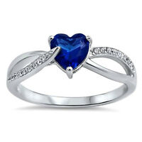 Usa Seller Heart Ring Sterling Silver 925 Best Jewelry Blue Sapphire Cz Size 6