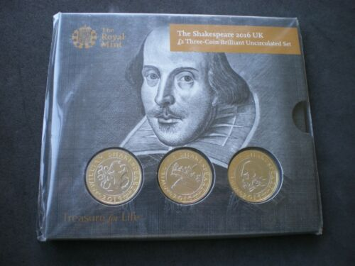 2016 Royal Mint Shakespeare BU 2 Two Pound Three 3 Coin Pack