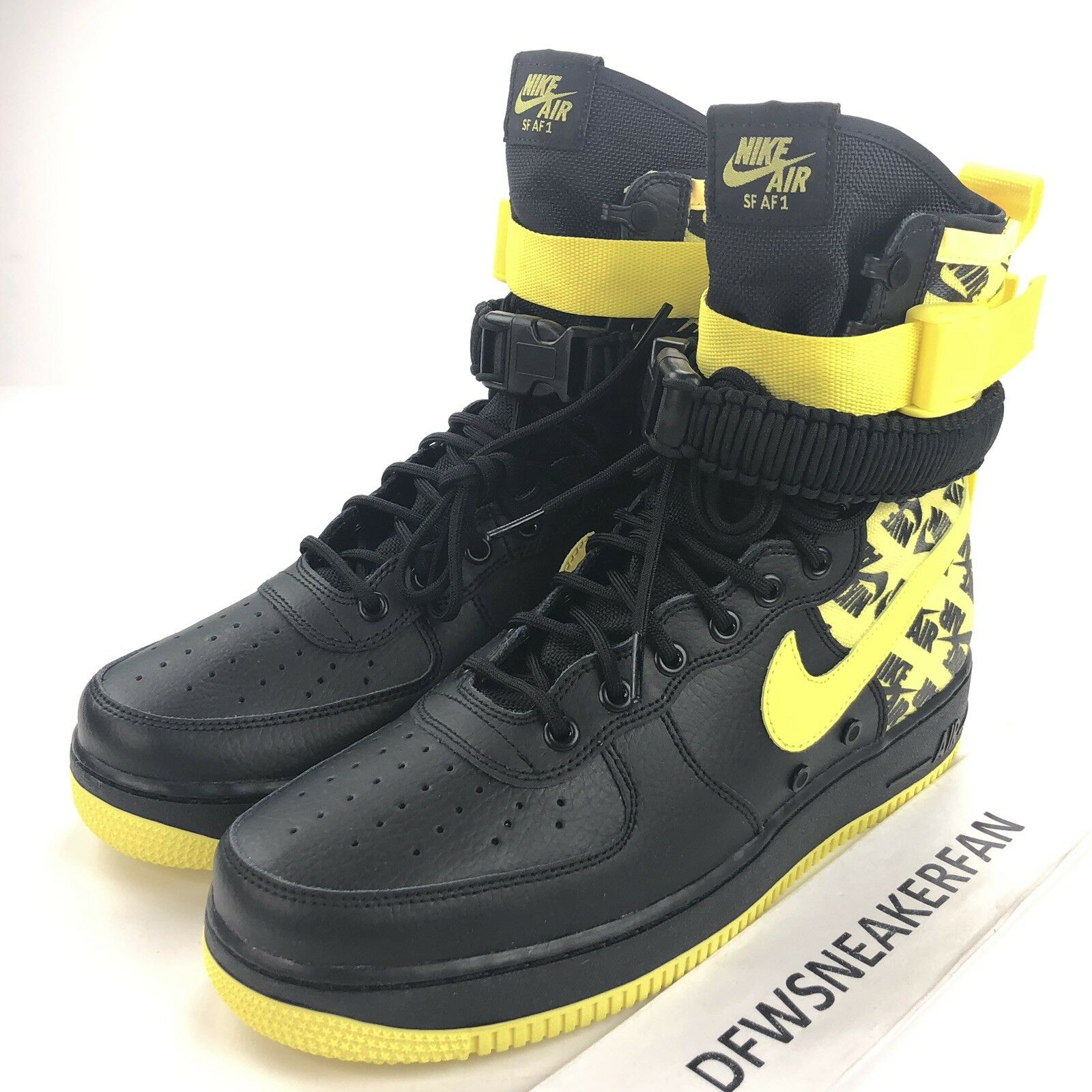 Nike SF Air Force 1 High Men's Size 10.5 Black Dynamic Yellow AR1955-001 shoes