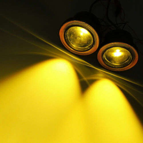 "2X Round 2.5/"" Inch Yellow LED Fog Light Driving Lamp Amber Angel Eyes Halo Ring"