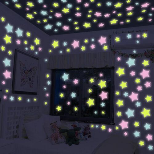 50pcs 3D Stars Glowing Wall Stickers Luminous Fluorescent Bedroom Ceiling Decor