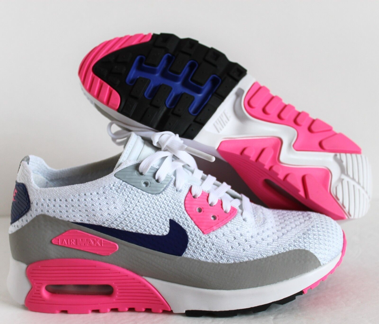 NIKE WOMEN AIR MAX 90 ULTRA 2.0 FLYKNIT WHITE LASER PINK SZ 6 [881109 101]