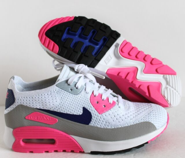 WMNS Nike Air Max 90 Ultra 2.0 Flyknit OG White Laser Pink Women Shoe 881109 101 6