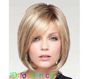 Short-Straight-Blonde-Cosplay-party-lady-039-s-wigs-free-wig-cap