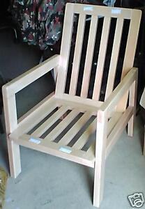 Détails sur Magnifique fauteuil de salon de jardin en bois massif ( hêtre )  verni