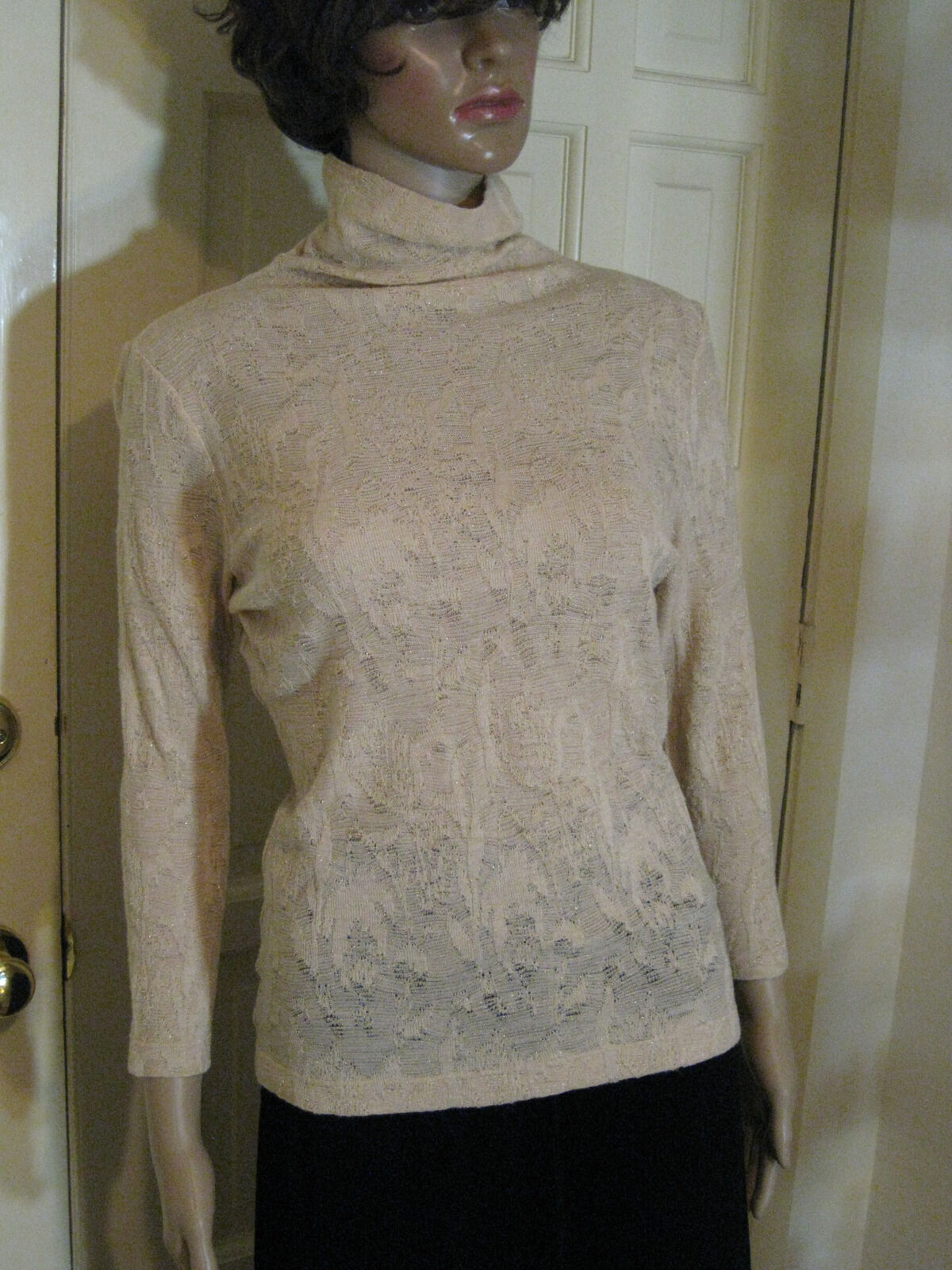 edc40f4bebf GARFIELD AND MARKS Sz Med Ecru and gold Lacy Wool Blend LS Evening Sweater  NWOT