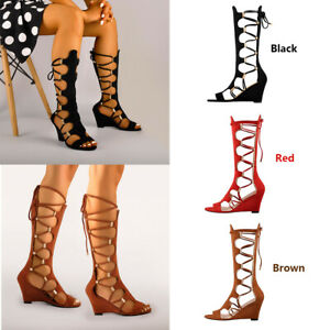 Onlymaker-Womens-Knee-High-Gladiator-Wedge-Sandals-Lace-Up-Zip-Beach-Long-Boots