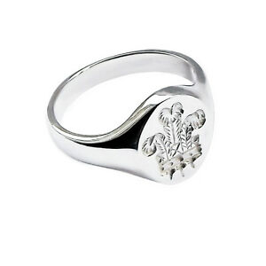 Prince-Of-Wales-Feathers-Signet-Ring-925-Sterling-Silver-14-X-12mm-UK-HM-Solid