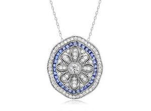 Platinum-Sterling-Silver-Blue-amp-White-Sapphire-Vintage-Design-Halo-Pendant-Gift