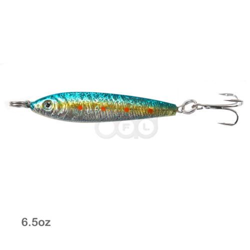 Fishing Random Color 6.5oz Double Face Mega Metal Fish Jig lures Treble Hook lot