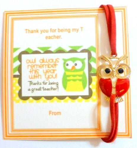 Thank You Gift Teacher Owl Bracelet Gold Plated Blue Faux Suede Velvet Cord
