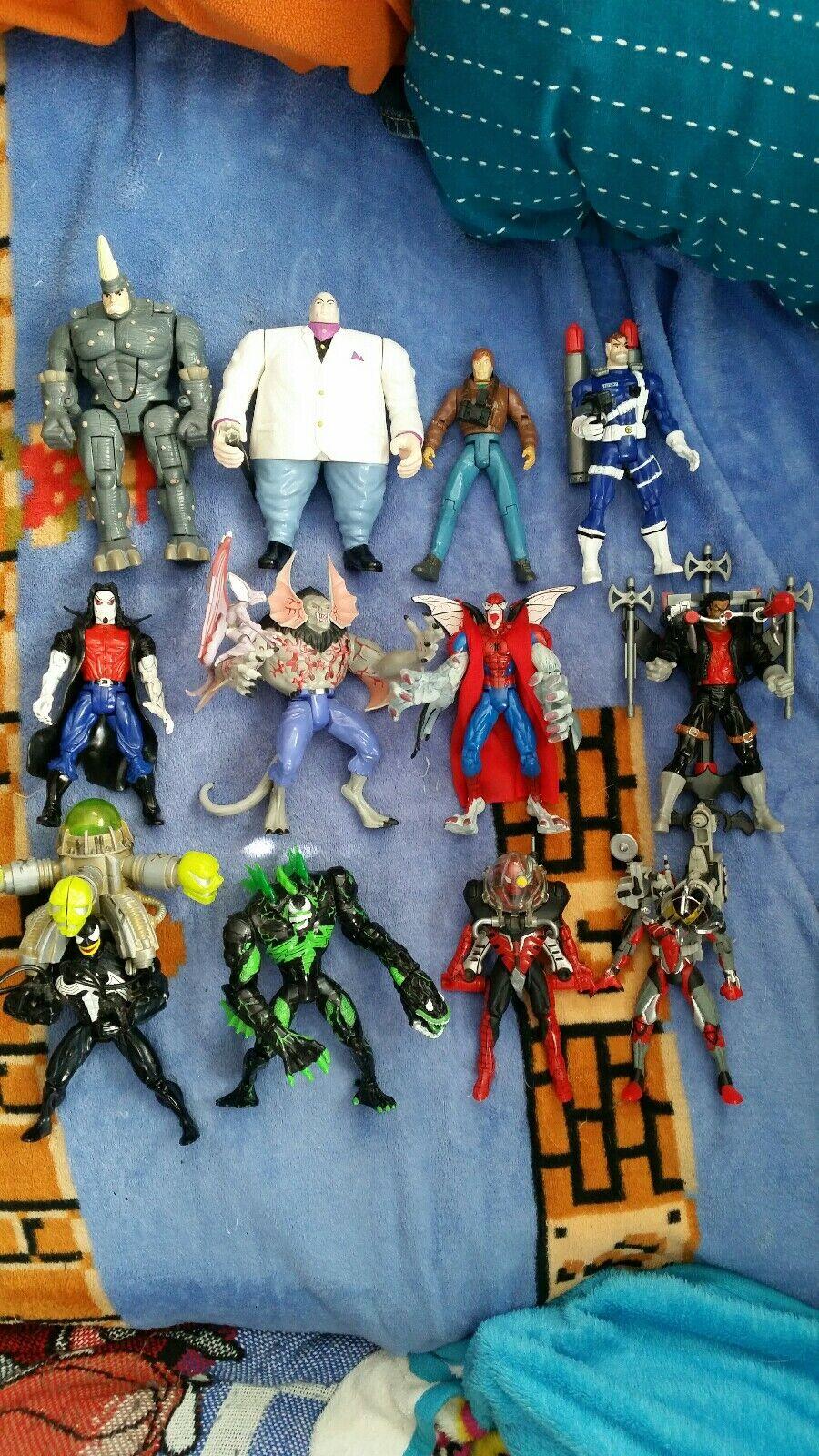 Lote de 12 Figuras Vintage De Hombre Araña Suelto capo Venom BLADE MORBIUS Nick Fury