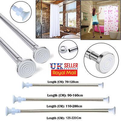 Curtain Rail Telescopic Shower Curtain Rod Extendable Bathroom Curtain Pole Stailess Steel Wardrobe Rail Tension Pole Net Voile Shower Curtains Rail