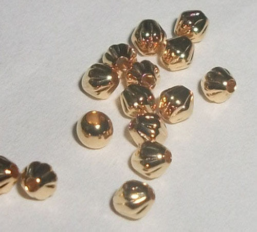 3x3mm corrugated bicones or double cone Gold plated over brass SPACER Beads