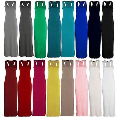 Ladies Women Jersey Long Summer Vest Racer Muscle Back Maxi Dress Plus Size 8-26