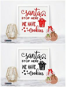 Details About Santa Stop Here We Have Cookies Vinyl Sticker For Ikea Ribba Box Frame Christmas