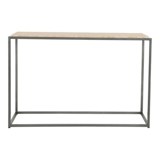 "48"" W Modern Industrial Console Table Cappuccino Marble Stone Top Iron Frame"