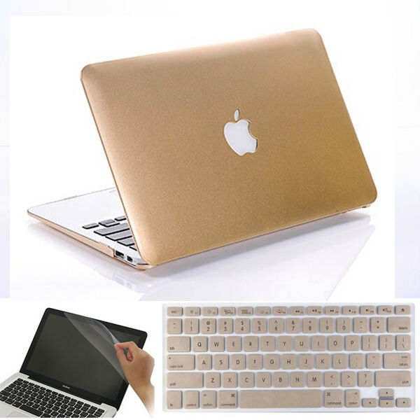 "3in1 Gold Matt Hard Skin Case Frosted Cover for 2013 Macbook Air 13"" A1369 A1466"