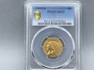 1909-D $5 PCGS MS 62  INDIAN Gold Half Eagle. PREMIUM AMAZING EYE APPEAL!