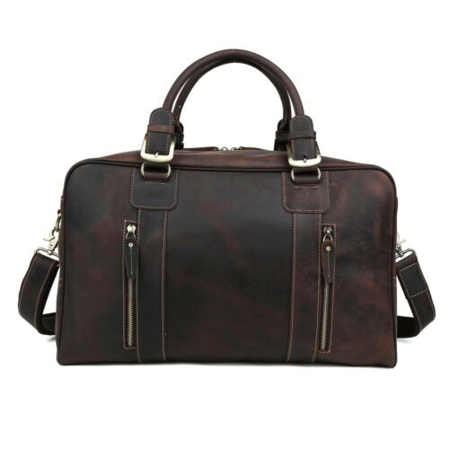 Vintage Men Leather Overnight Luggage Duffle Travel Weekender Gym Bag Carry On