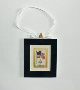 July-4th-1960-Hand-Crafted-Velvet-Framed-USA-Stamp-Christmas-Tree-Ornament