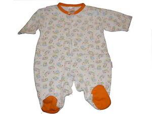 Baby-Butt-toller-Schlafanzug-Gr-50-56-weiss-orange-mit-Igel-Motiven