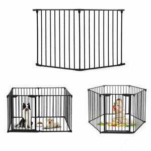 2-panels-Indoor-outdoor-Fireplace-Baby-Safety-Fence-Hearth-Gate-Metal-Fire-Gate