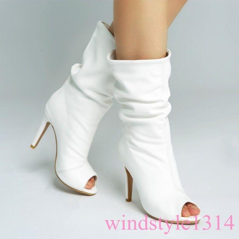 Occident Sexy Oversize High Heel Peep Toe Mid Mid Mid Calf Boots Leather Stiletto Women 049dcd