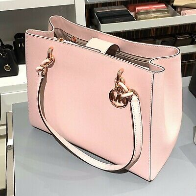 Michael Kors Women Leather Large Shoulder Tote Handbag Bag Purse Pink Rose Gold 192877715986 | eBay