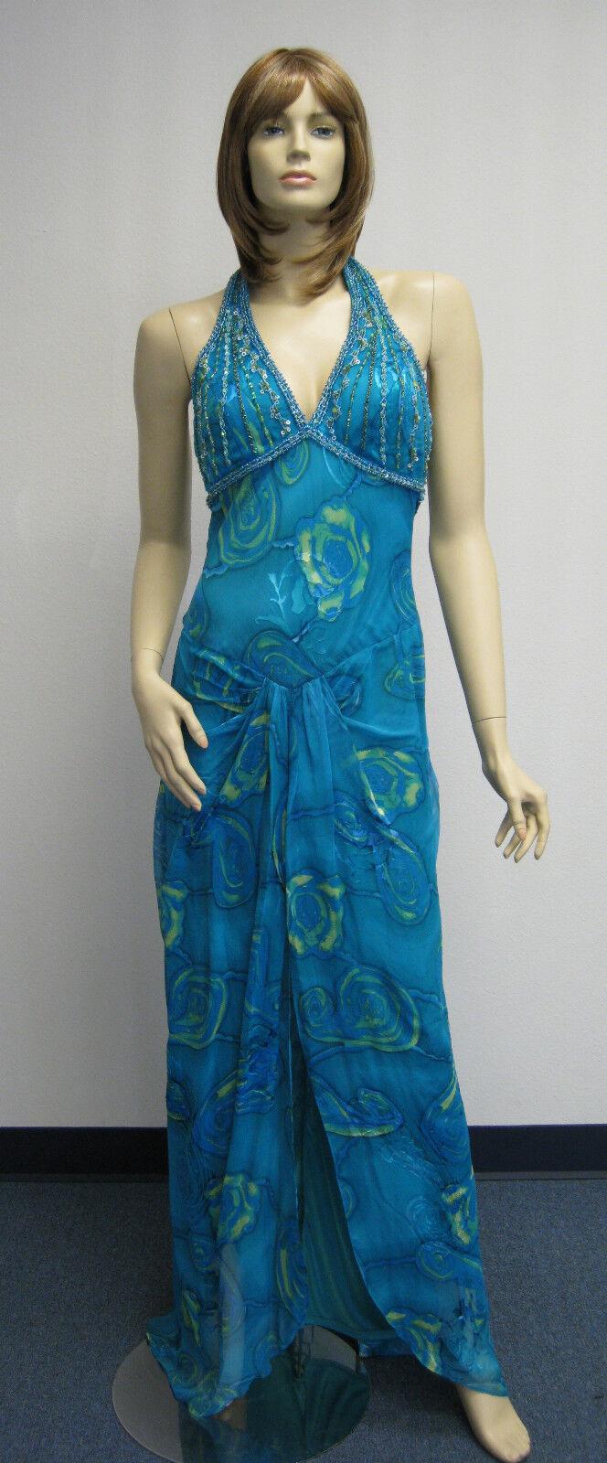 Sue Wong Diseñador Vestido y  chal azul Halter Floral de Noche De Boda Con Cuentas verde Azulado  alta calidad general