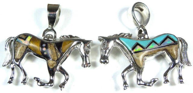 Reversible Multicolor & Fire Opal Inlay Solid 925 Sterling Silver Horse Pendant