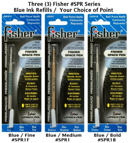 THREE Your Choice of Point 3 Fisher Space Pen SPR Series Blue Ink Refills